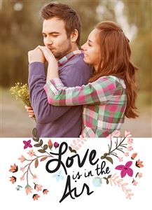 Hugging couple on a Love Is In The Air Photo Card