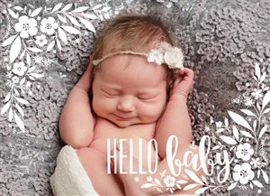 Sleeping baby on a grey bed on a Custom Birth Announcement Photo Card