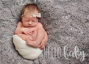 Sleeping baby on a grey bed on a Custom Real Foil Stamp Card