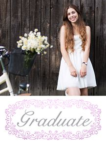 Girl in white dress posing for a pic on her Custom Graduation Photo Card