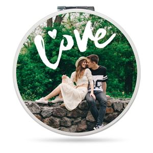 Couple sitting on rocks together on a Custom Striped Themed Compact Mirror