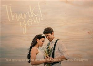 Newlywed couple on a Custom Thank You Real Wood Photo Card