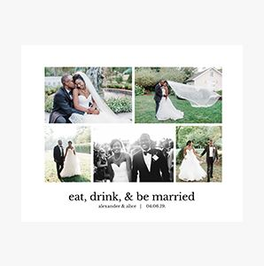 Just married themed Custom Collage Photo Print