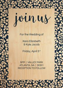 Custom Wedding Invitation on a Real Wood Photo Card