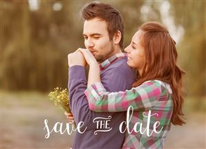 Kissing couple on a Custom Save The Date Photo Card