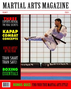 karate kid kicking in the air on the cover of a custom Magazine Cover