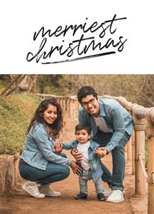 Family of three in denim on a Custom Christmas Card