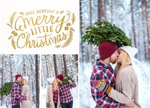 Couple kissing in the snow on a Custom Christmas Card