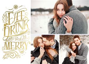 Couple posing for three pictures in the snow on a Custom Christmas Card