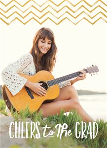 Girl playing guitar by the lake on her Custom Graduation Photo Card