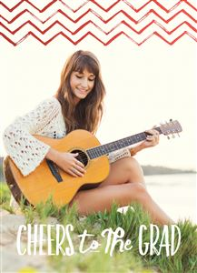 Girl playing guitar by the lake on her Custom Real Foil Graduation Card