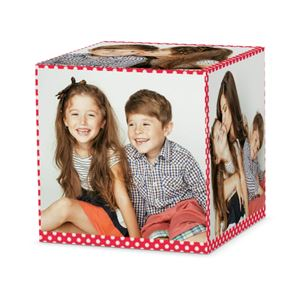 brother and sister smiling togehter and another pictutre of them with mom on a custom mini dotted cube