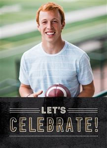 Teen smiling holding a football on a custom Grad Invite Card