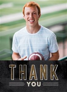 Teen holding a football on a Custom Thank You Graduation Card