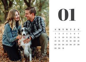 Couple in the woods with their pet dog on a Custom Modern Desk Calendar