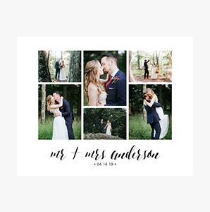 Mr and Mrs just married Custom Collage Photo Prints