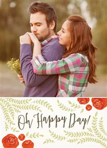 Kissing couple on a Happy Day Themed Photo Card