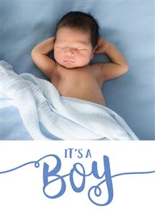 Custom Baby Boy Announcement Photo Card