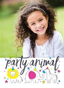 Smiling girl poses for a picture on her Custom Party Animal Birthday Invitation Card