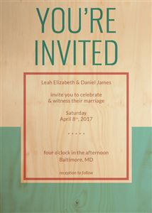 Custom Real Wood Pastel Colored Invitation