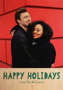 Couple hugging on a Custom Happy Holiday Real Wood Photo Card