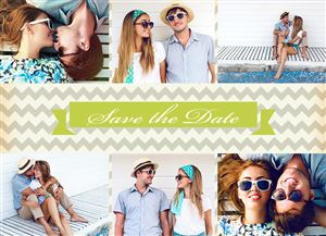 Photo gallery of a happy couple on a Custom Save The Date Photo Card