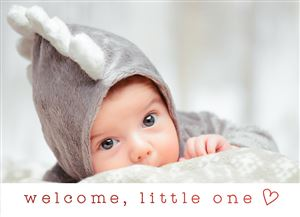 Baby in a shark costume on a Real Foil Custom Stamp Card