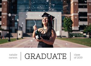 Girl popping Champagne on a Custom Proud Graduate Photo Card