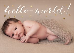 Newborn baby under a brown blanket on a Custom Birth Announcement Photo Card
