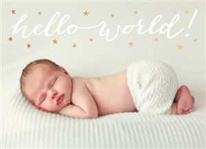 Sleeping newborn baby on a bed on a Custom Real Foil Stamp Card