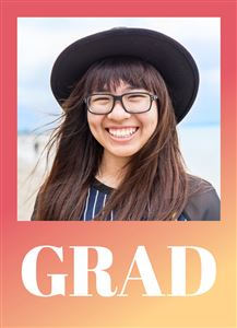 Red Gradient Themed Graduation Photo Card