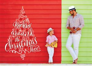 Dad with his son posing for a picture on a Custom Christmas Tree Card