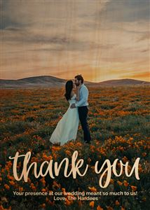 Newlyweds in a field of flowers on a Custom Wooden Thank You Card