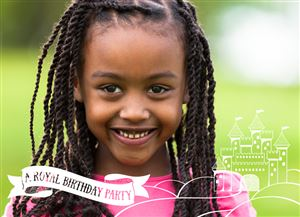 Smiling girl poses for a picture on her Custom Royal Birthday Invitation Card