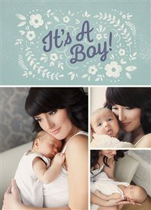 Mom holding her baby boy on a Custom Birth Announcement Photo Card