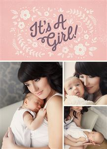 Mom holding her baby girl on a Custom Birth Announcement Photo Card