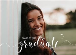 Smiling girl on a Just Graduated Announcement Card