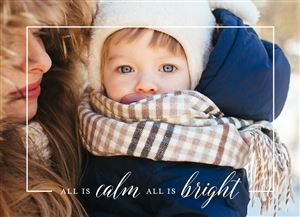Baby snuggled in clothing on a Custom Christmas Card