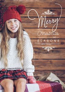 Daughter with a red beanie poses on a Custom Christmas Card