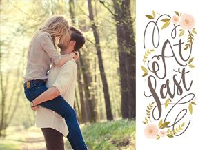 Kissing couple in the forest on a Custom Wedding Invitation Card