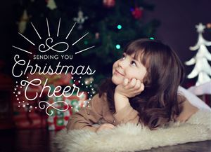 Smiling daughter by the Christmas Tree on a Custom Holiday Card