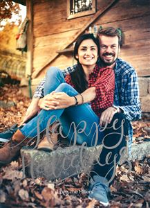 Couple in flannels in the woods on a Custom Holiday Card