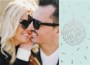 Smiling couple in matching sunglasses on a Custom Christmas Card