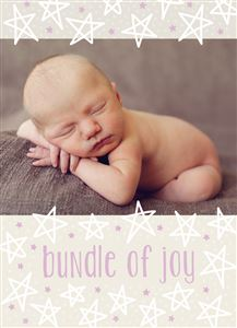 Sleeping newborn baby on a Custom Birth Announcement Photo Card