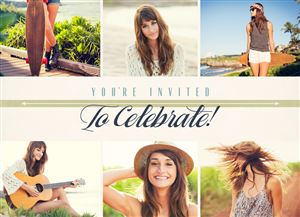 Photo gallery of a girl playing guitar and hanging out by the beach on a Custom Grad Party Invitation Card