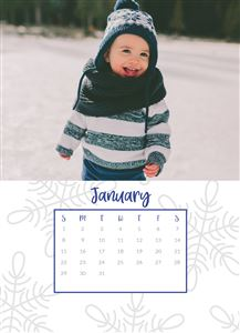 Smiling baby in the snow on a Custom Simple Desk Calendar