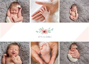 Sleeping baby photo gallery on a Custom Birth Announcement Photo Card
