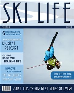 Skiier in the air doing a trick on the cover of a Sports Magazine