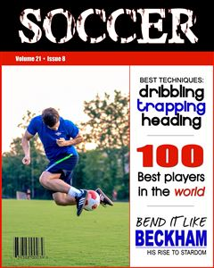 Soccer player kicking a soccer ball on the cover of a custom Sports Magazine