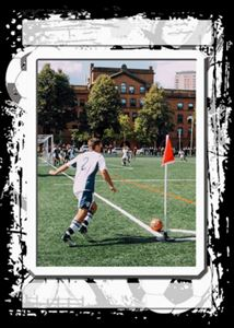 Custom soccer trading card kicking a soccer ball